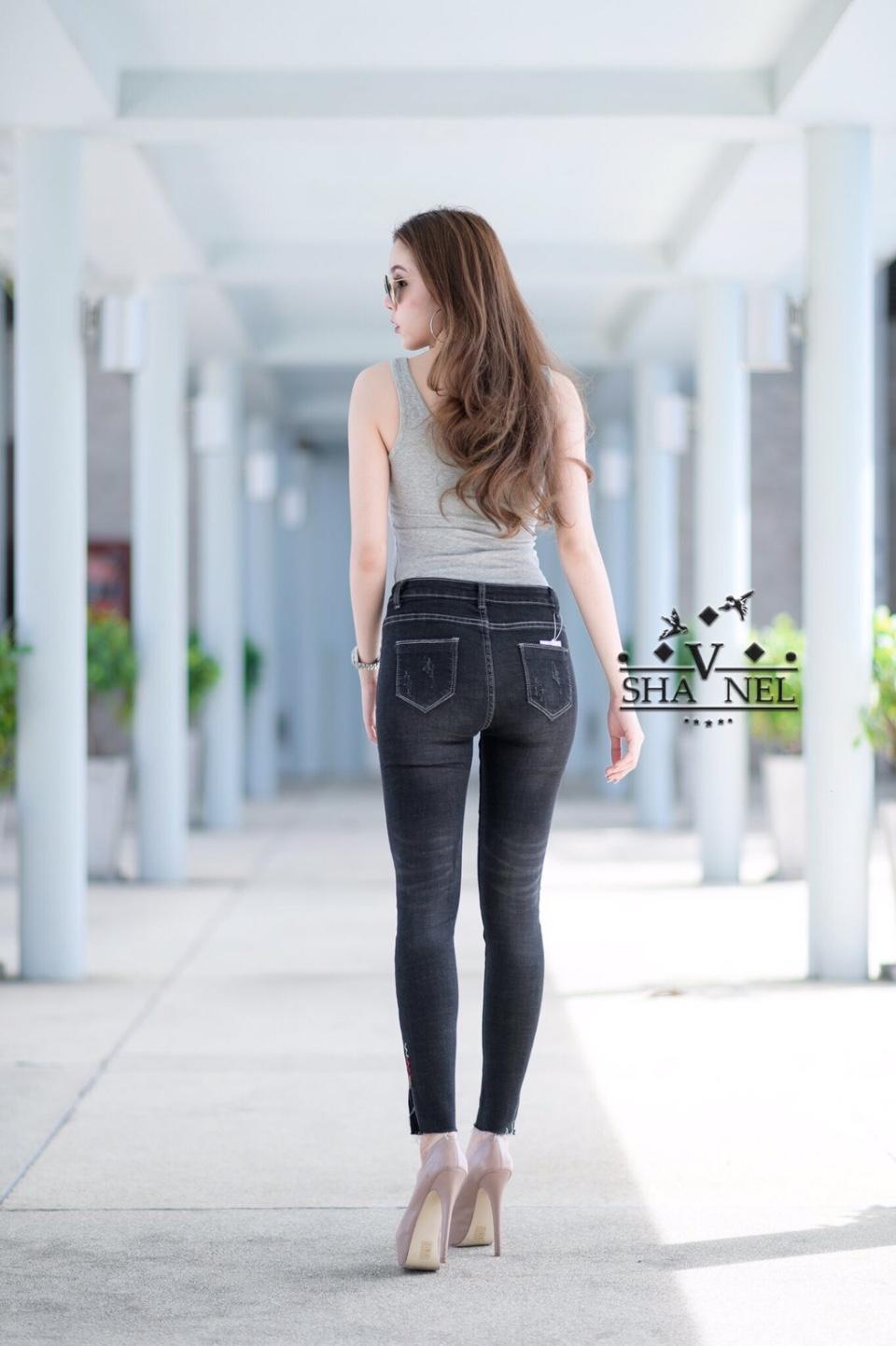 กางเกงยีนส์ สะกิดขาดเอวสูงผ้ายีนส์ยืด